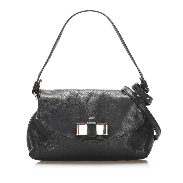 Black Chloe Lily Leather Satchel Bag