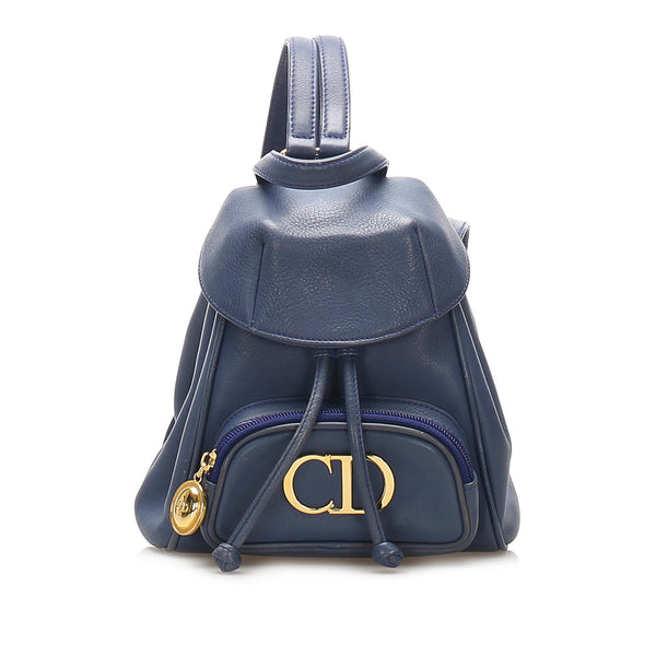 Blue Dior Mini Logo Leather Backpack Bag