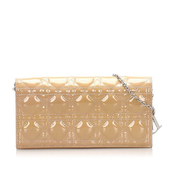 Beige Dior Cannage Patent Leather Wallet on Chain
