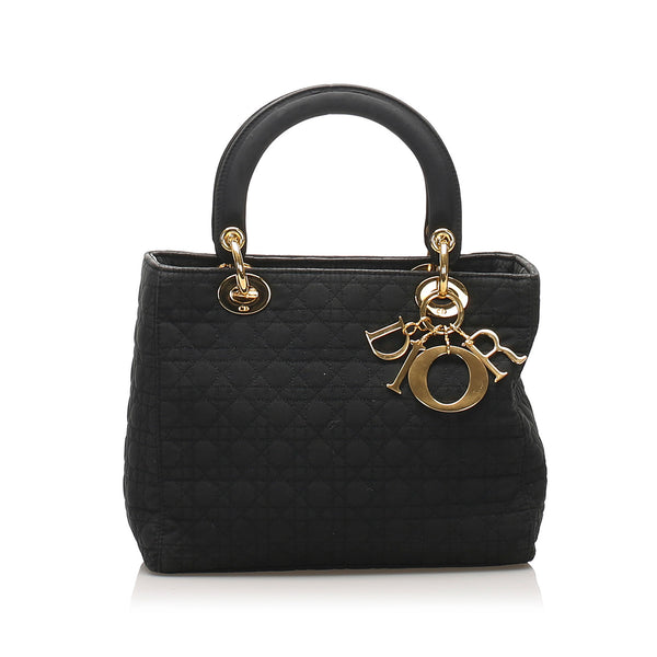 Black Dior Cannage Lady Dior Nylon Handbag Bag