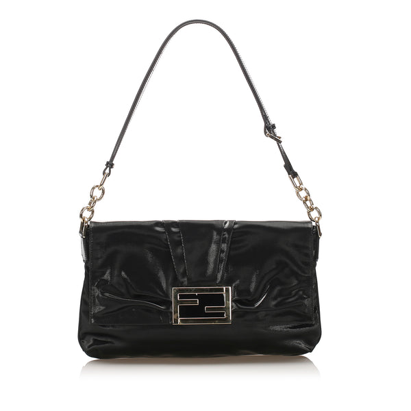 Black Fendi Coated Canvas Baguette