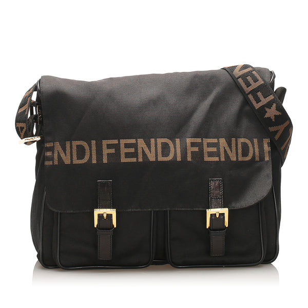 Black Fendi Canvas Crossbody Bag