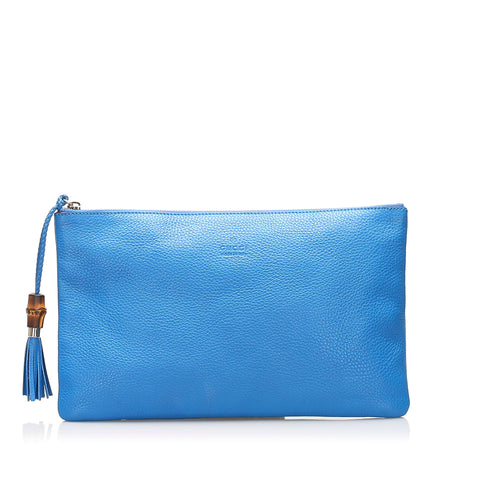 Blue Gucci Bamboo Leather Clutch Bag