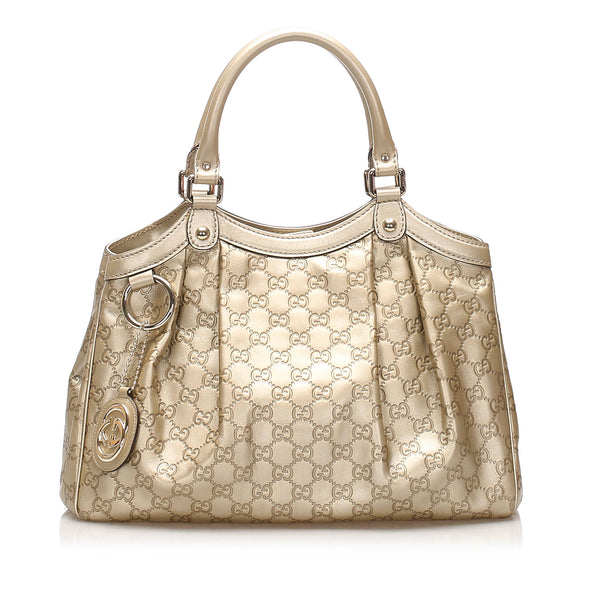 Gold Gucci Guccissima Sukey Leather Tote Bag