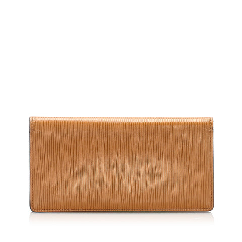 Brown Louis Vuitton Epi Brazza Long Wallet