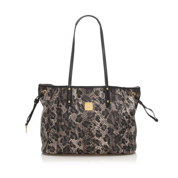 Black MCM Visetos Leopard Print Leather Tote Bag