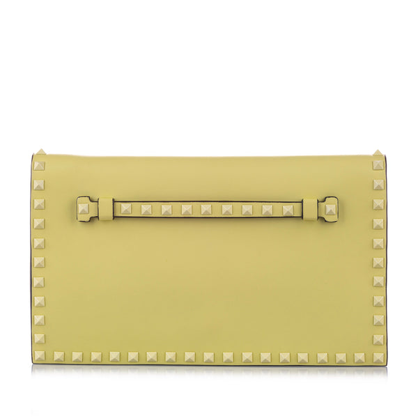 Yellow Valentino Rockstud Leather Clutch Bag