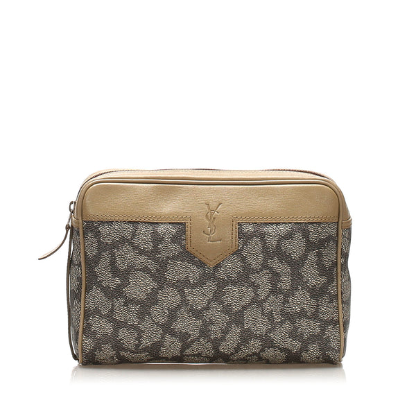 Gray YSL Printed Leather Clutch Bag