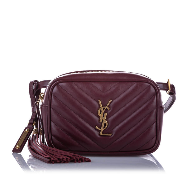 Red YSL Lou Leather Belt Bag