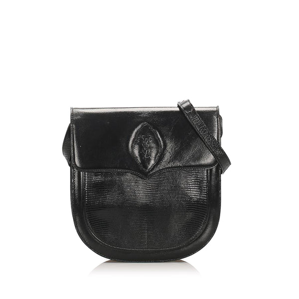 Black YSL Lizard Leather Shoulder Bag