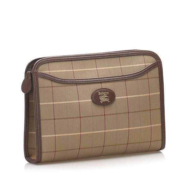 Brown Burberry Canvas Clutch Bag