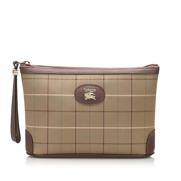 Beige Burberry Plaid Canvas Clutch Bag