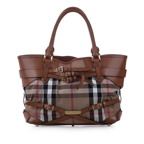 Brown Burberry House Check Gosford Bridle Canvas Shoulder Bag