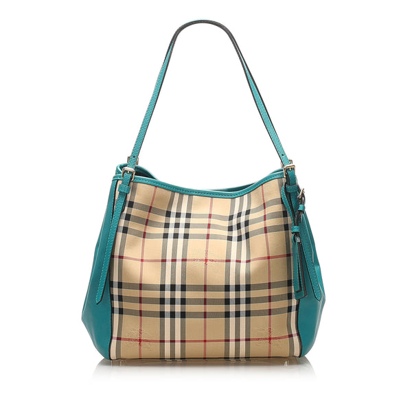 Brown Burberry Haymarket Check Canterbury Canvas Tote Bag