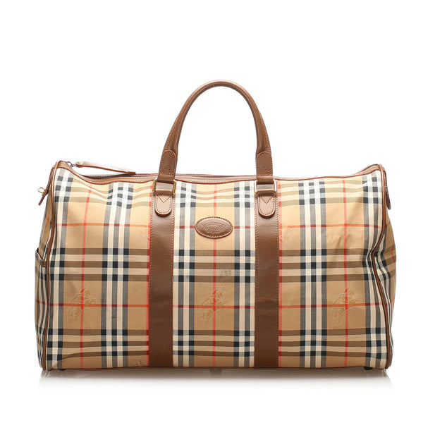 Brown Burberry Haymarket Check Canvas Duffle Bag