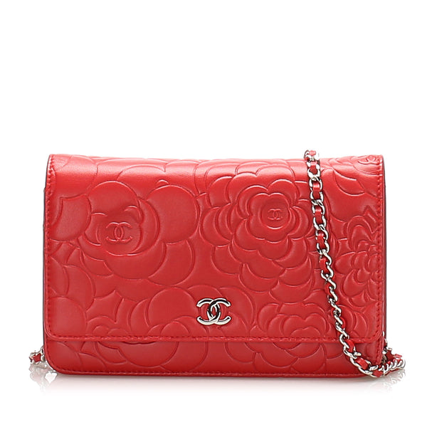 Red Chanel Camellia Lambskin Leather Wallet on Chain