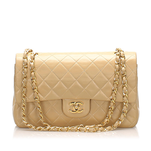 Beige Chanel Medium Classic Lambskin Leather Double Flap Bag