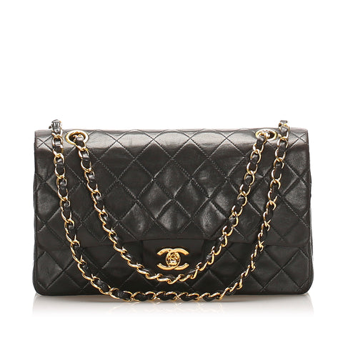Black Chanel Medium Classic Lambskin Leather Double Flap Bag