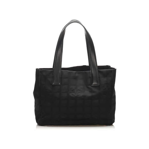 Black Chanel New Travel Line Canvas Tote Bag