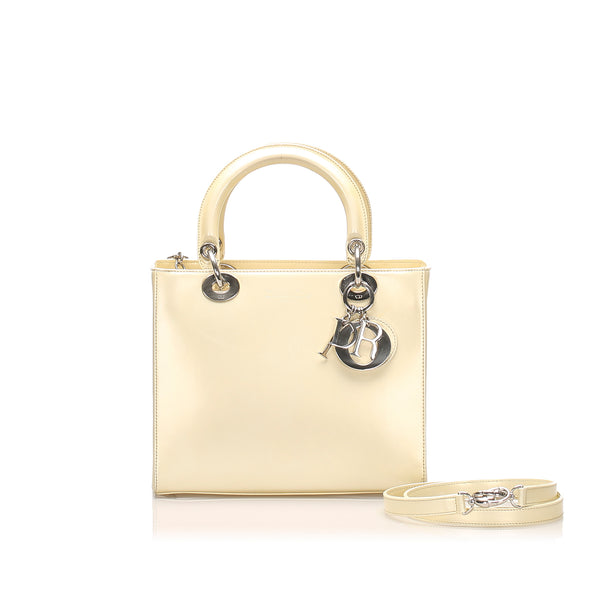 White Dior Lady Dior Leather Satchel Bag