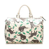 White Gucci Elephant Print Joy PVC Boston Bag