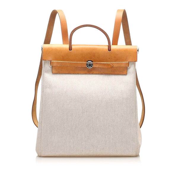 Beige Hermes Herbag Canvas Backpack Bag