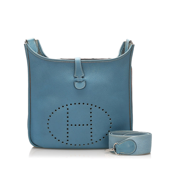Blue Hermes Togo Evelyne PM Bag