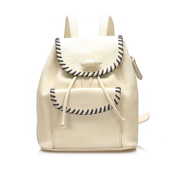 White YSL Leather Drawstring Backpack Bag