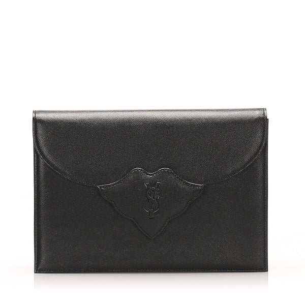 Black YSL Leather Clutch Bag