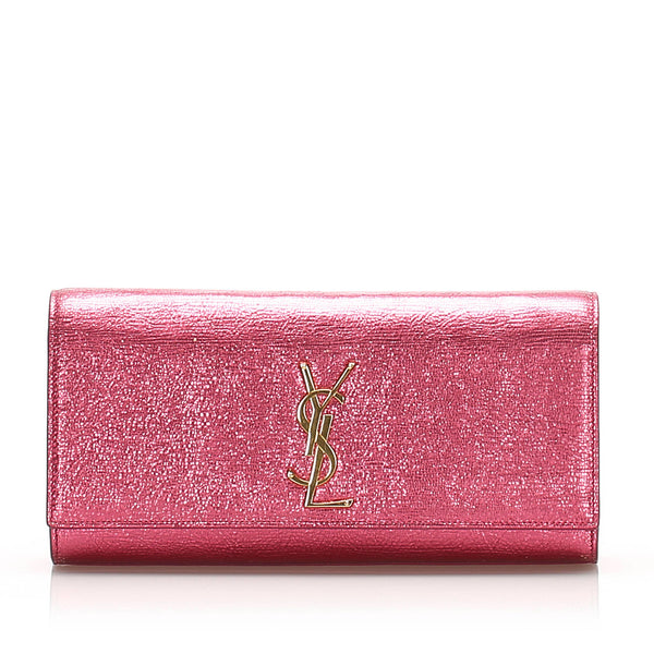 Pink YSL Belle de Jour Leather Clutch Bag
