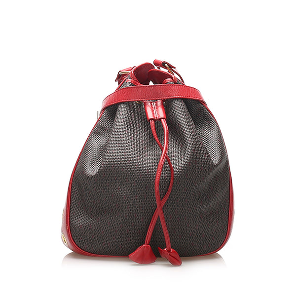 Gray YSL Drawstring Canvas Bucket Bag