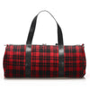 Red YSL Plaid Wool Satchel Bag