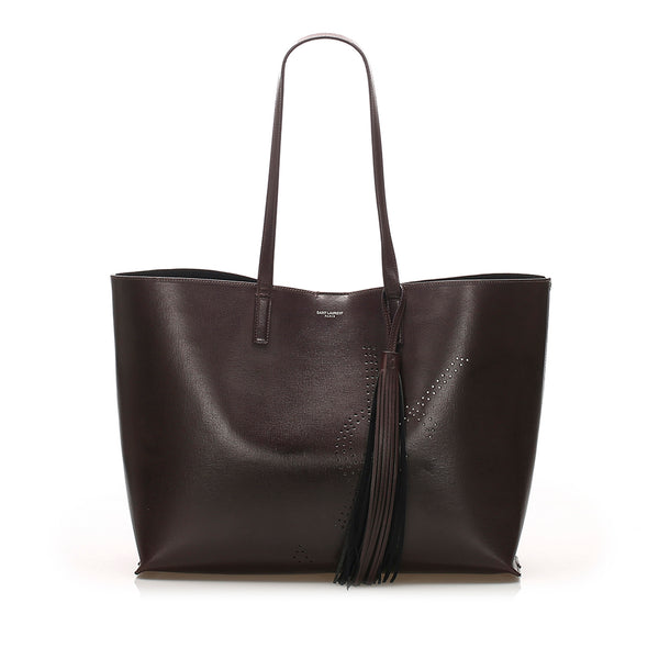 Brown YSL Tassel Leather Shopping Tote Bag