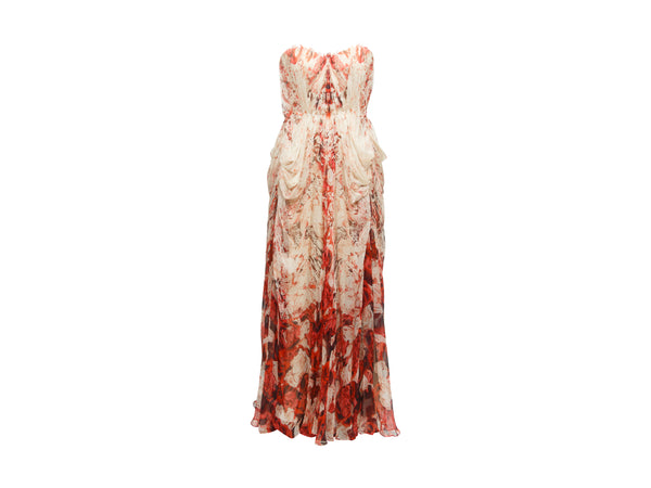 Cream & Red Alexander McQueen Rose Print Silk Gown