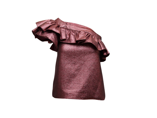 Pink Philosophy di Lorenzo Serafini Metallic One-Shoulder Top