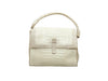 White & Beige Nancy Gonzalez Crocodile Handbag