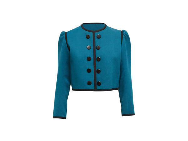 Vintage Teal & Black Yves Saint Laurent Rive Gauche Jacket