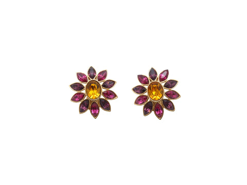 Purple & Yellow Yves Saint Laurent Floral Clip-On Earrings