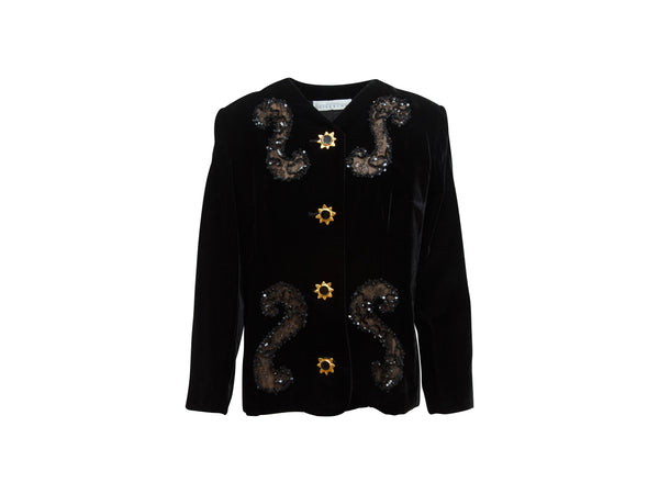 Black Vintage Givenchy Couture Embellished Velvet Jacket