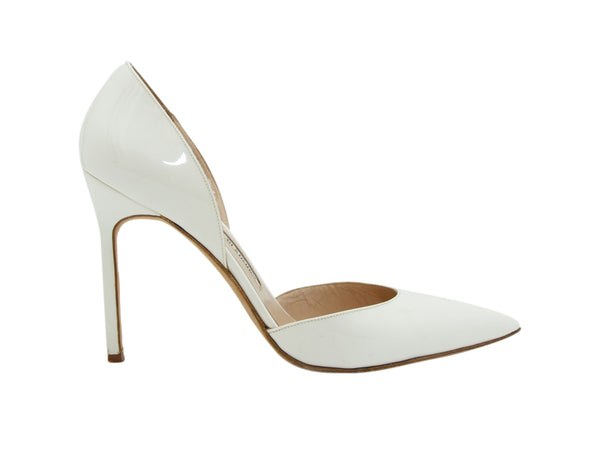 White Manolo Blahnik Patent Leather d'Orsay Pumps