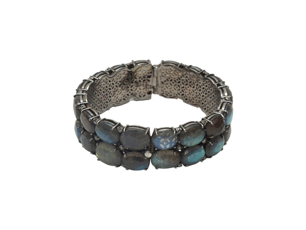 Blue & Silver Bavna Tourmaline & Labradorite Bangle Bracelet