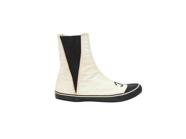 Vintage White & Black Chanel CC Canvas Boots