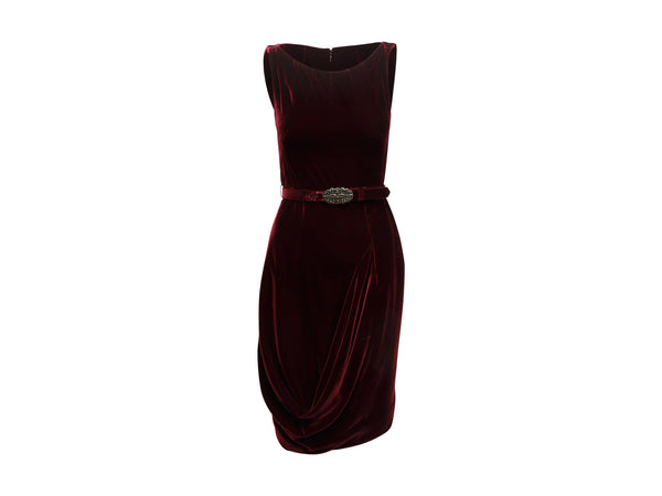 Burgundy Alexander McQueen Velvet Sleeveless Dress