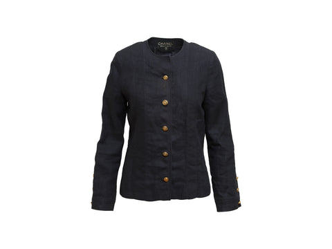 Navy Blue Chanel Boutique Linen Jacket