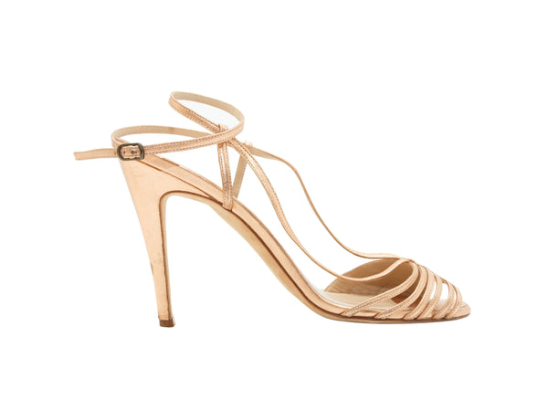 Nude & Copper Manolo Blahnik Leather Strappy Sandals