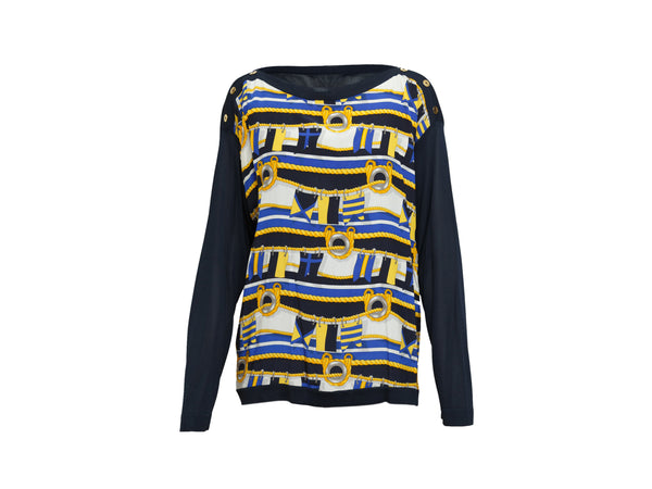 Navy & Rope Print Celine Silk Sweater