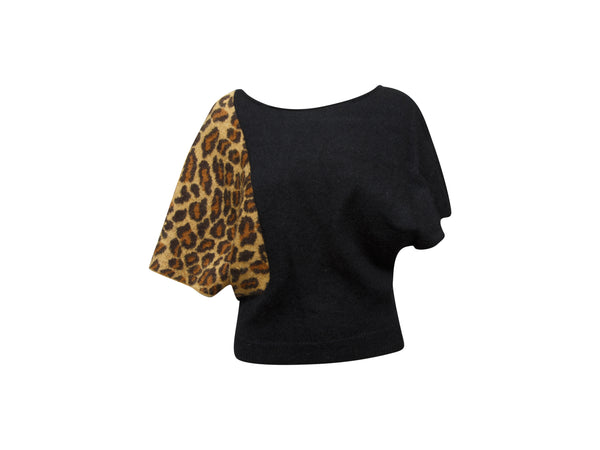 Black & Leopard Print Saint Laurent Dolman Sleeve Sweater