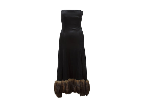Black J. Mendel Silk Sable-Trimmed Gown