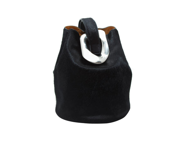 Black Bottega Veneta Ponyhair Drop Bucket Bag