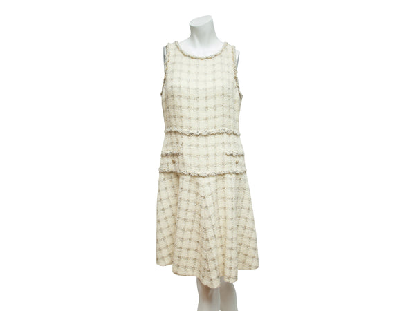 Metallic Cream Chanel Tweed Shift Dress